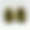 Barrette double gaze de coton kaki interieur doré