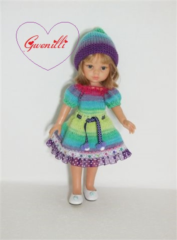 Vêtements compatibles aux poupées: chérie, mini maru, paola reina,minouche, etc.: tenue multicolore