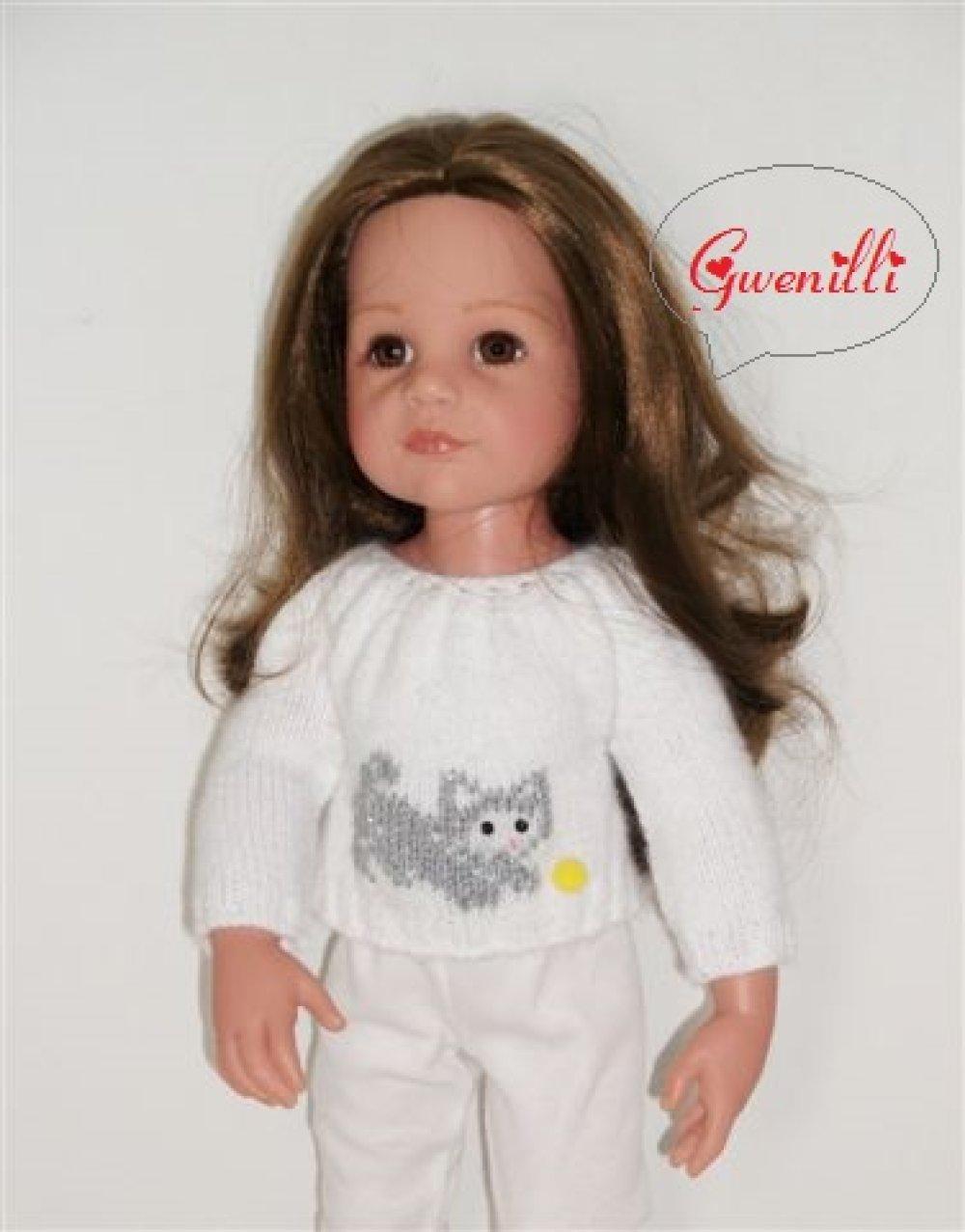 """Vêtement pour poupées Maru' n friends,gotz, journey girls, Finouche etc: PULL blanc """" chaton et balle """""""