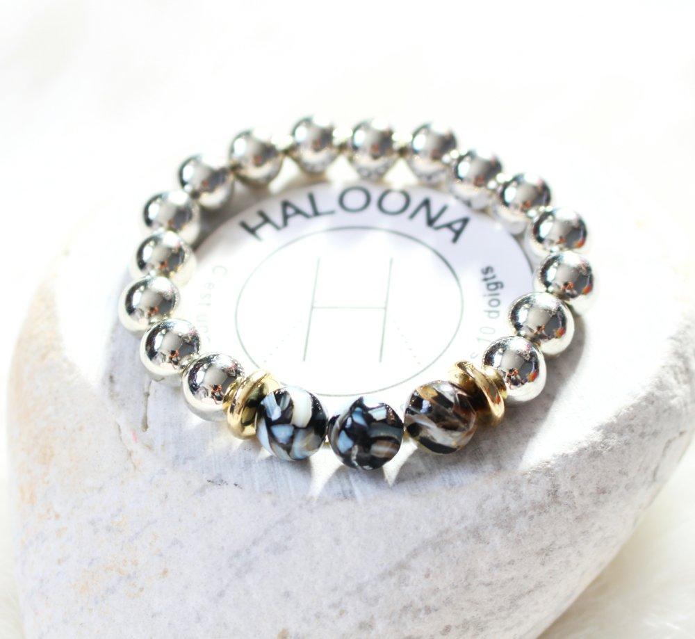 Bracelet - perles en métal argenté/doré et pierres gemmes