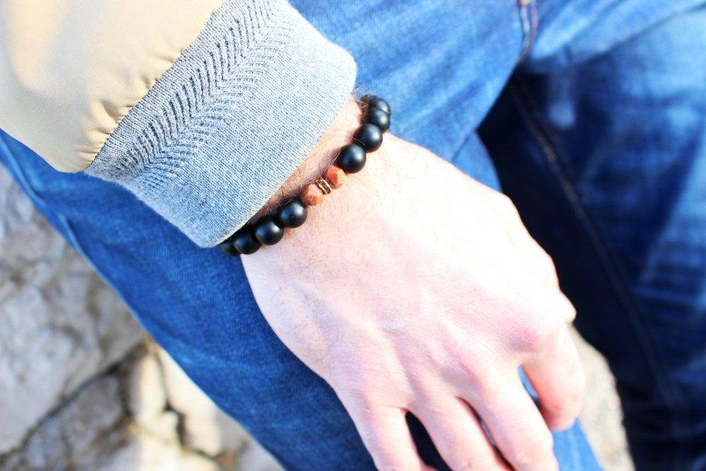 Bracelet - pierre gemmes (agate mat couleur noir/ pierre de soleil) -strass