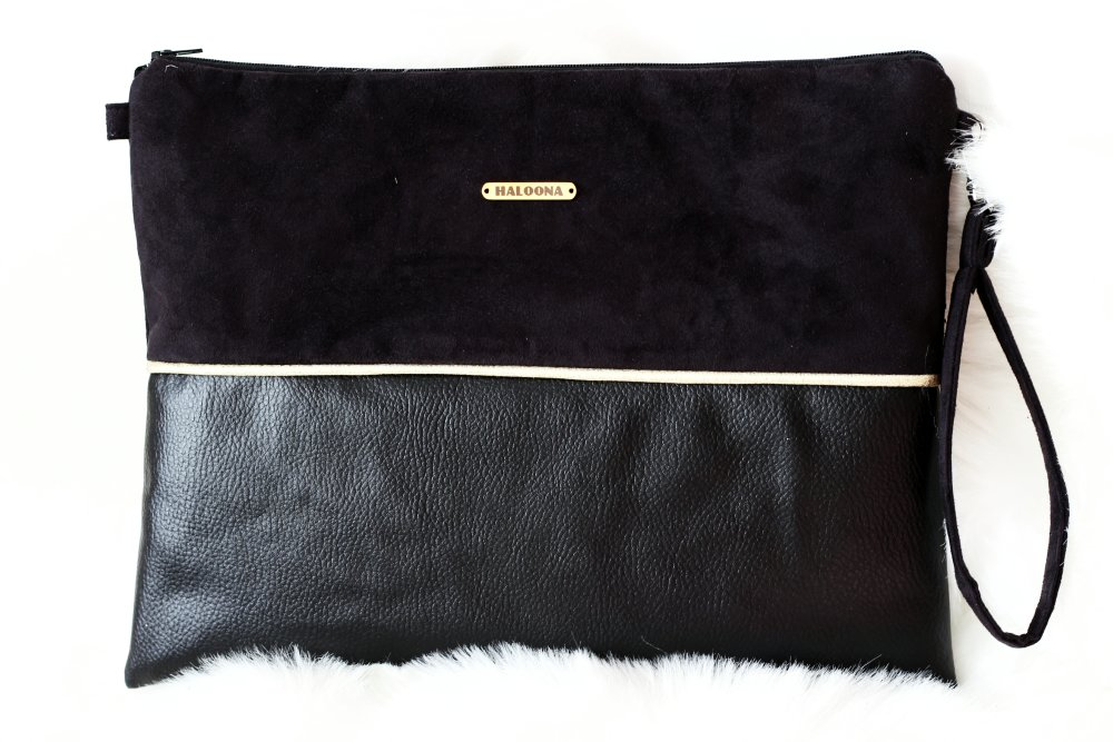 Pochette Aéla - bi matière noir