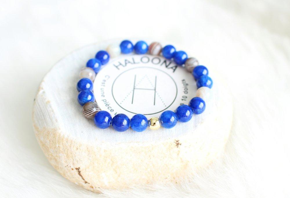 Bracelet homme - pierre gemmes bleu - perle métal doré