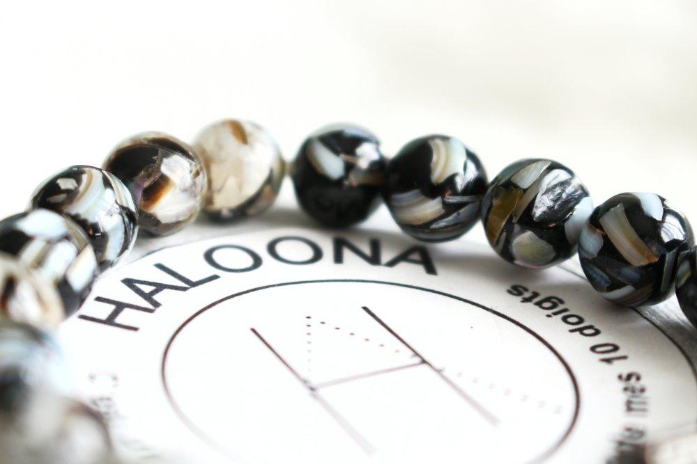 Bracelet homme - perles nacre et résine -breloque haltère