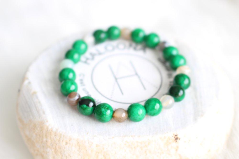 Bracelet homme - pierres gemmes vert