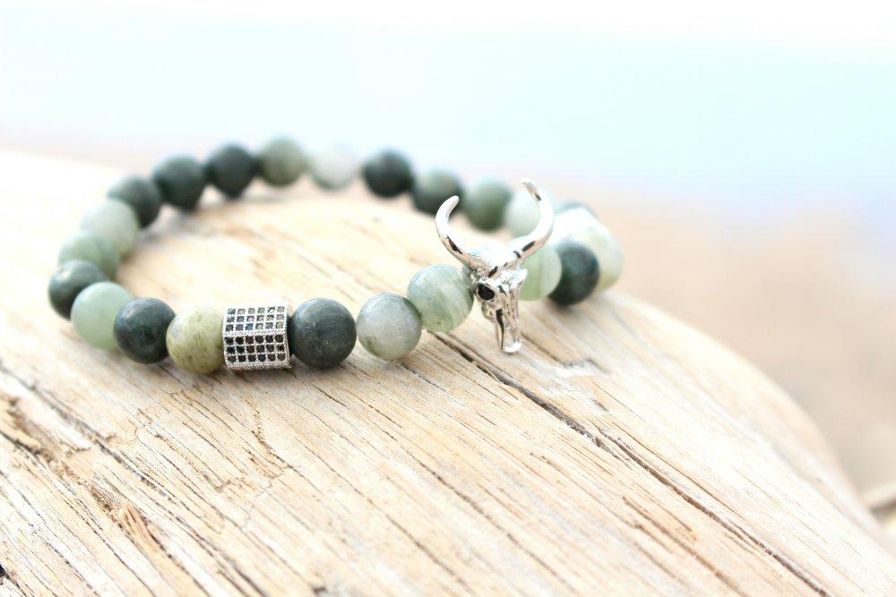 Bracelet bohème - tête de buffle,  pierres gemmes