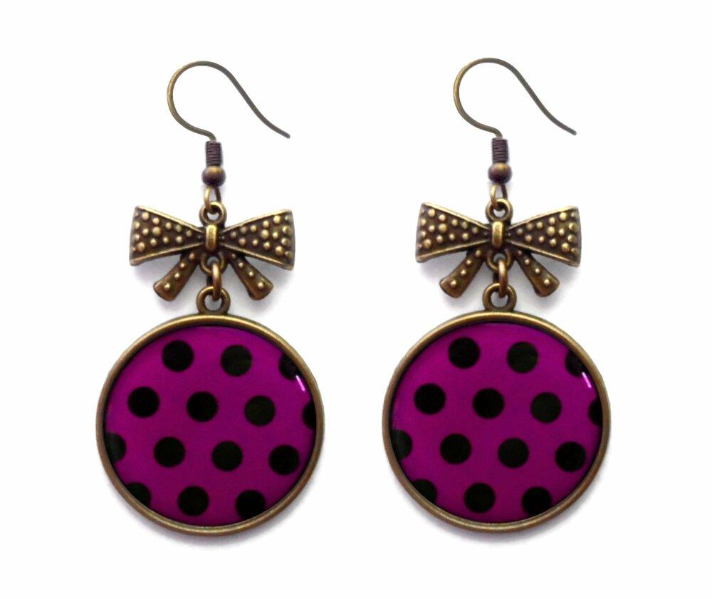 Boucle d'oreille noeud bronze à pois vintage cadeau pour femme amie violette