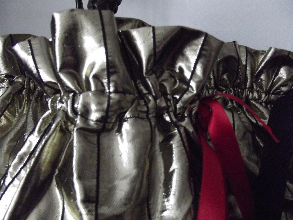 lot de 3 pochettes en tissu lamé or