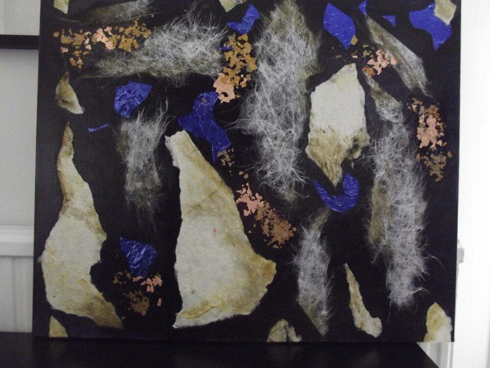 ciel d'orage peinture sur toile de lin style abstrait