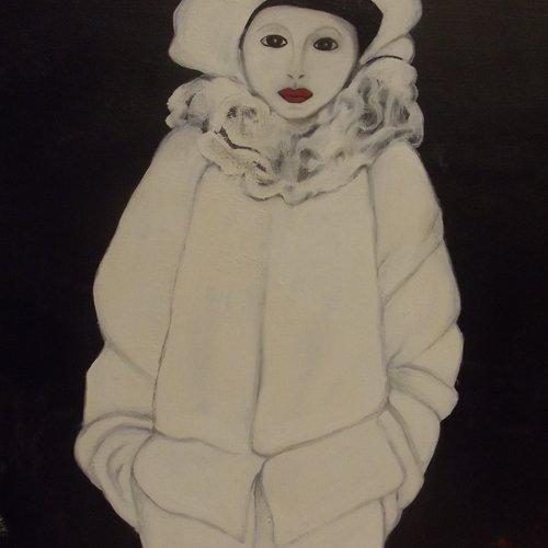 Augusto le clown blanc peinture à l'huile sur toile de lin
