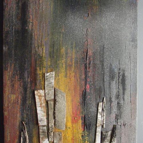 Feu de foret peinture à l'huile sur lin style abstrait