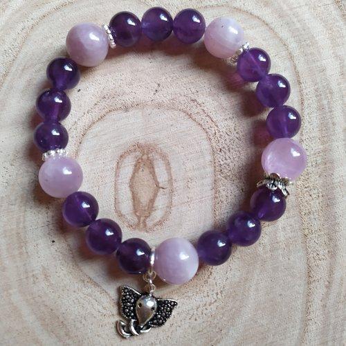 Bracelet bijoux en pierres naturelles d'améthyste et kunzite rose