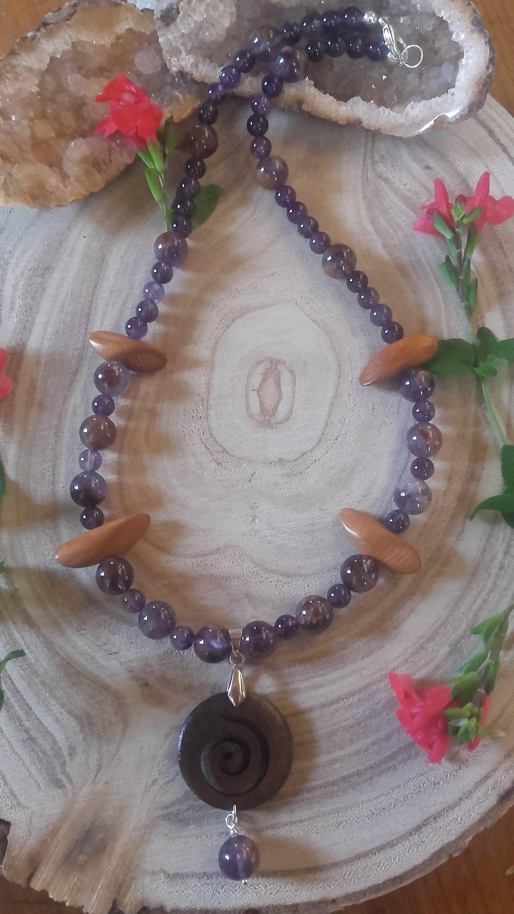 Collier femme bijoux en Pierres naturelles d' améthyste fantôme,  bois