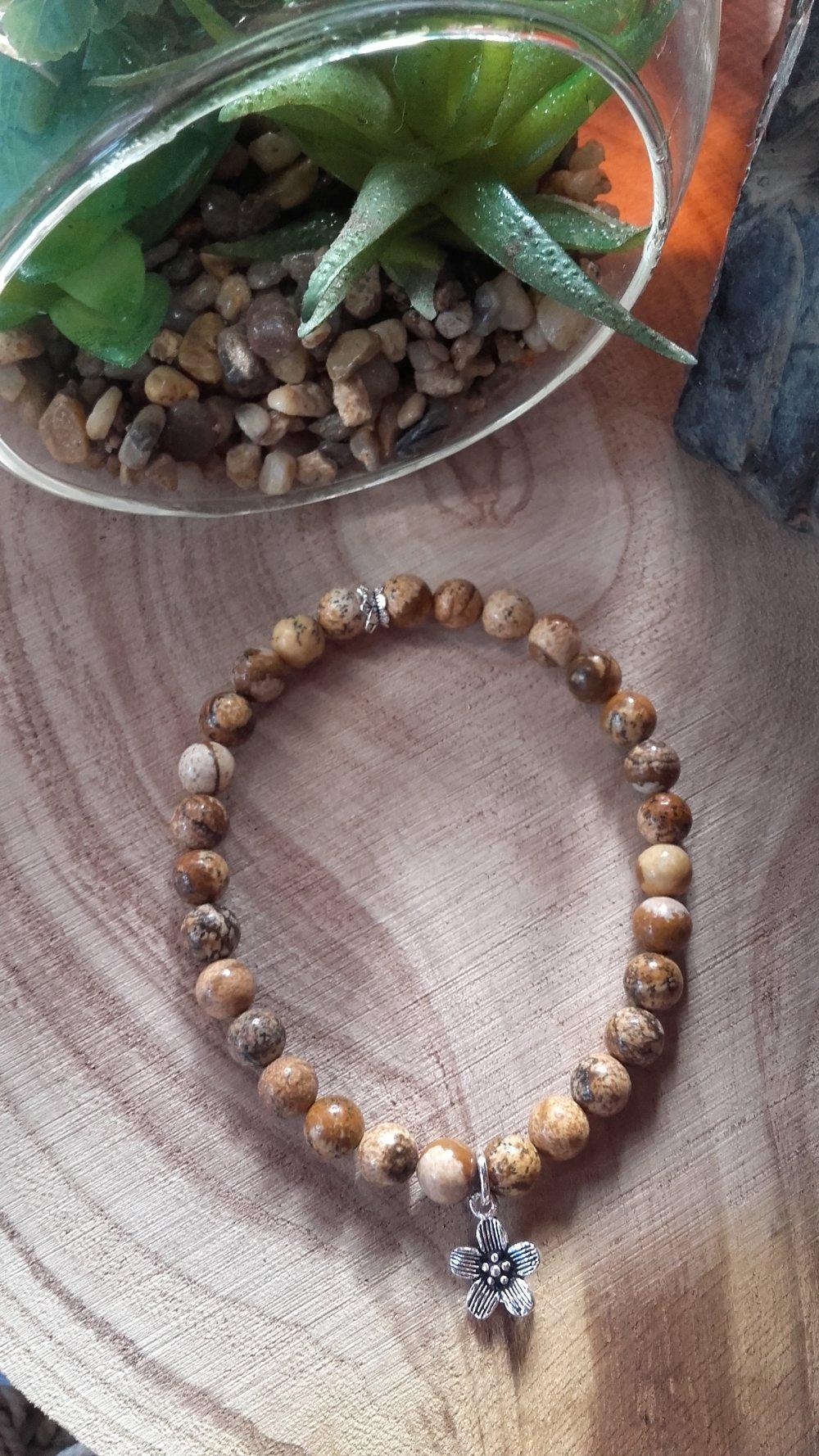 pierres naturelles jaspe paysage bracelet et argent