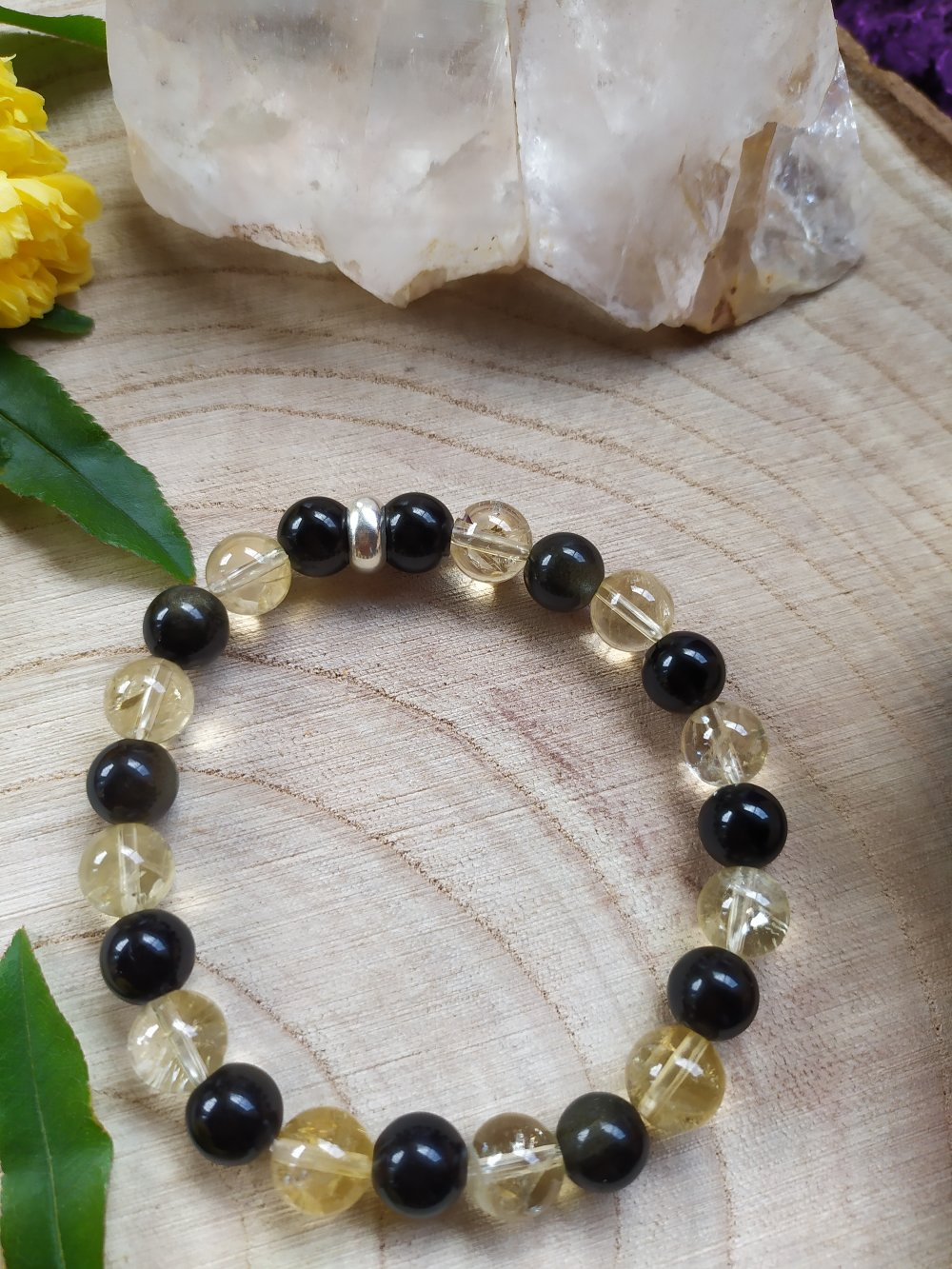 Bracelet Bijoux en pierres naturelles  Citrine naturelle et Obsidienne dorée
