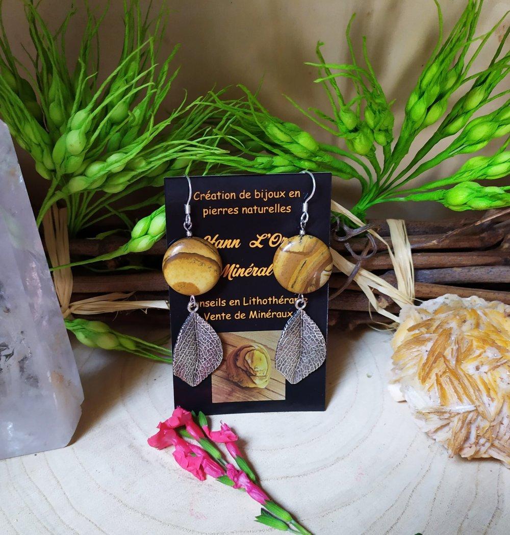 Boucles d'oreilles Bijou de pierre naturelle de Jaspe Paysage et feuille