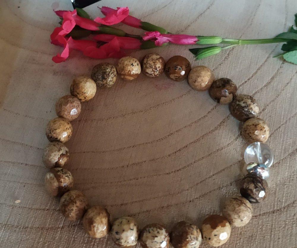 Bracelet Bijou de pierre naturelle en Jaspe paysage et cristal de roche