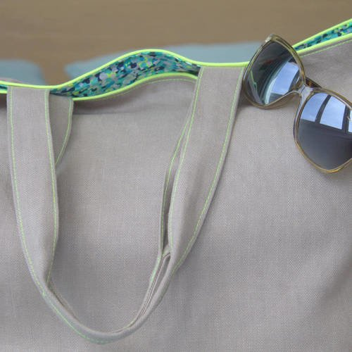Sac cabas pratique été en lin brillant tuape et jaune fluo plage - shopping - vacances