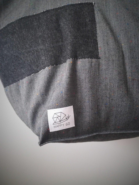 Grand sac cabas souple gris foncé et patchwork