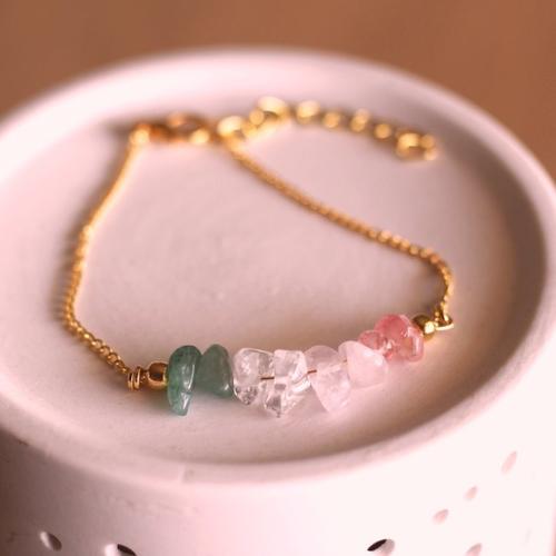 Bracelet élisabeth cristal de roche, quartz rose, quartz cerise et aventurine verte