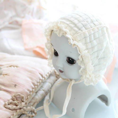 Bonnet ancien de poupée ou nourrisson, chapeau de naissance, poupée ancienne, bb171116