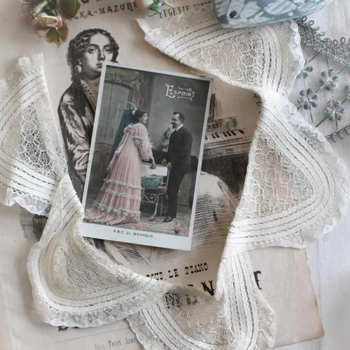 Col de mariage, customisation, broderie au lacet et dentelle au filet française, col antique