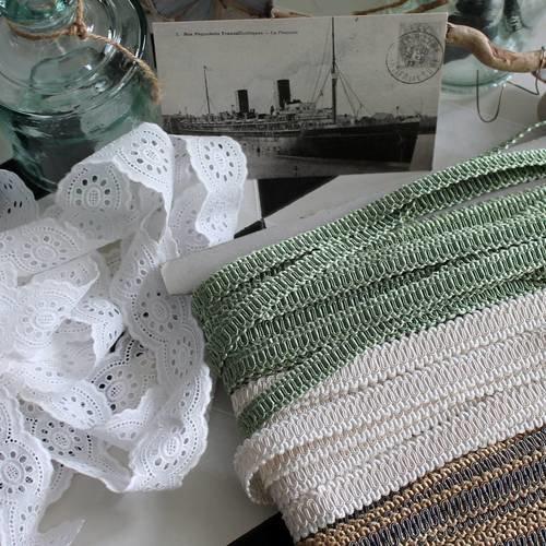 Lézarde guipure ivoire - galon houles france - galon passementerie vintage - galon luxe - galon tapissier décorateur