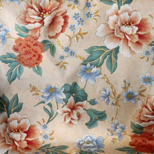 Tissu vintage, urge, bahamas saumon 33, patchwork, fleurs, 53 x 57 cm, 328