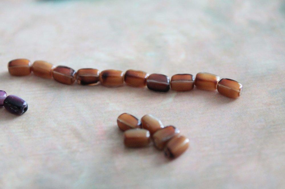 20 perles de Briare anciennes françaises en verre, 5 mm, largeur 3 mm, en forme de grain de riz, pour broderie ou bijoux, 1075