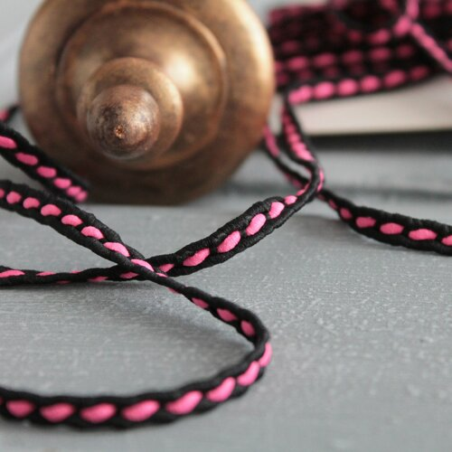 Cordon bicolore noir et rose de 5 mm, galon fin à coudre,2354