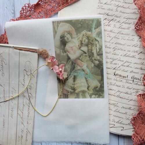 Vignette sur tissu,transfert sur tissu de photo romantique,178