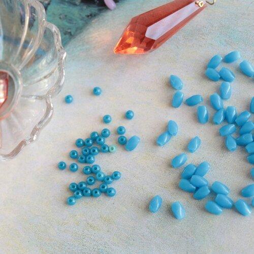 20 perles bleues anciennes en verre, perle dent de lait torsadée de 8x4.5 mm, 1842