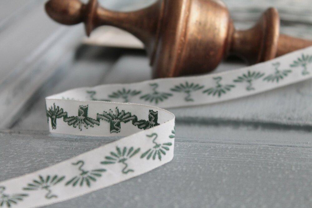 Galon fantaisie jacquard blanc et vert, galon vert de 13 mm, 2352