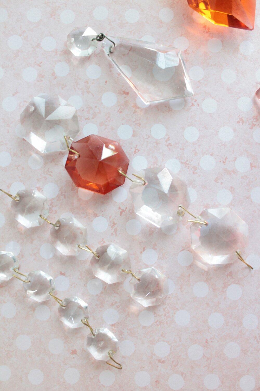 lot 20 anciennes pampilles de lustre octogonale octogone L 10,5 cm