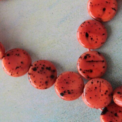 10 perles galet orange et noir 1 cm, perle tachetée ronde palet, 2286