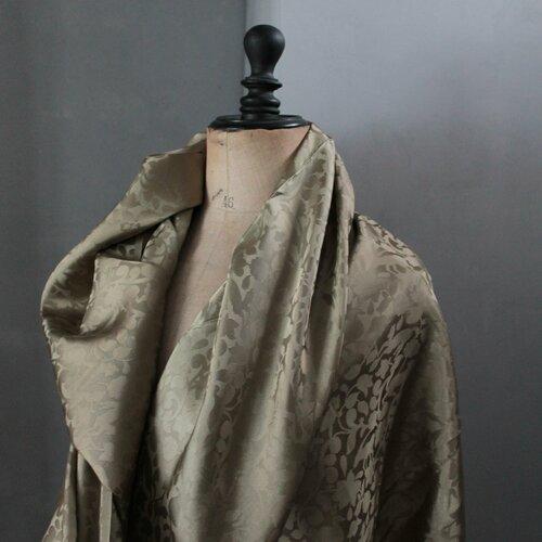 Soie à motifs, tissu vintage kaki, soie mélangée, largeur 85 cm, doublure au mètre, 2302