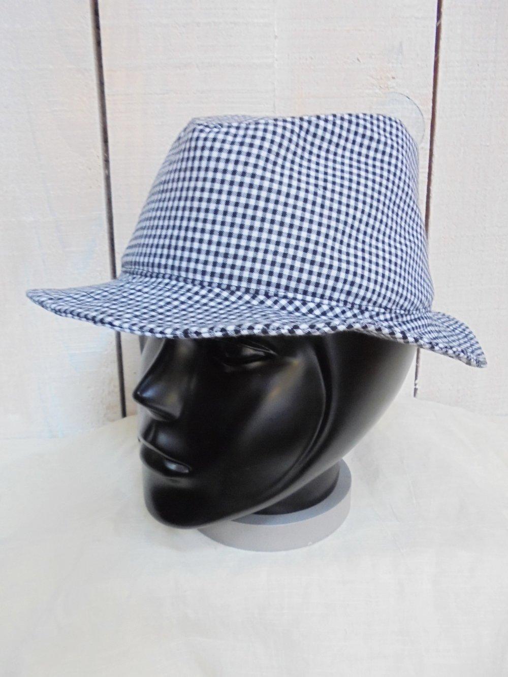 Chapeau FEDORA en coton imprimé Vichy 3 tailles