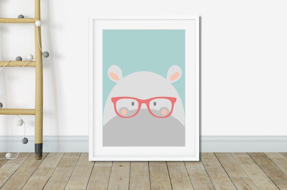 Affiche hippopotame rigolote, Poster hippopotame, Affiche enfant animaux