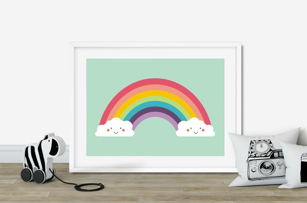 Affiche arc-en-ciel kawai, Affiche arc en ciel, Illustration multicolore enfant, Poster enfant kawai