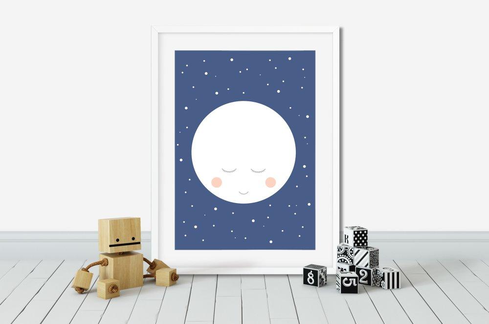 Décoration chambre d'enfant, Affiche étoiles, Poster lune