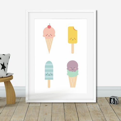 Affiche Glaces Poster Crèmes Glaçées Affiche Cuisine Ice