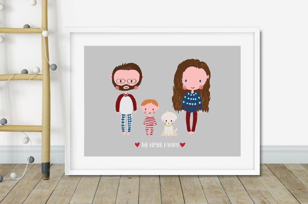 Portrait de famille personnalisé, cadeau de noël pour elle pour