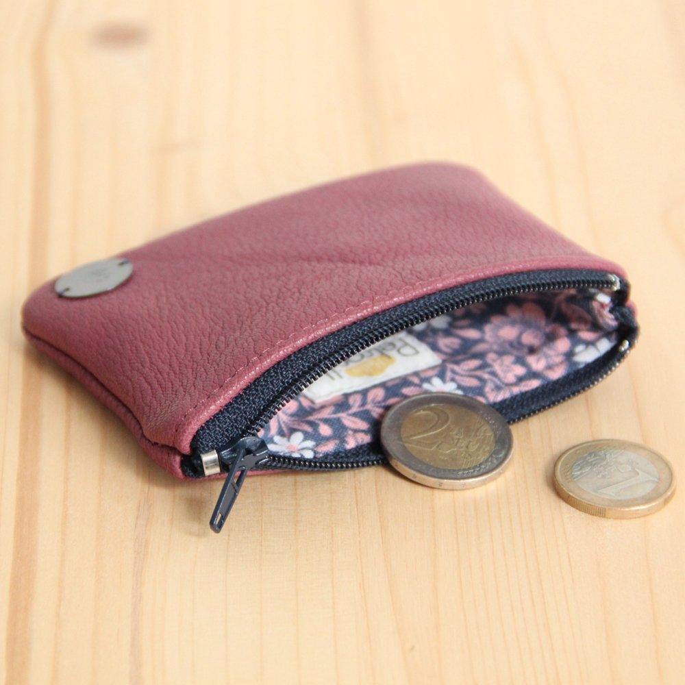 Porte-monnaie zippé en cuir violine recyclé