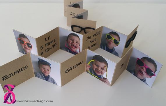 Faire part ou invitation anniversaire thème lunettes