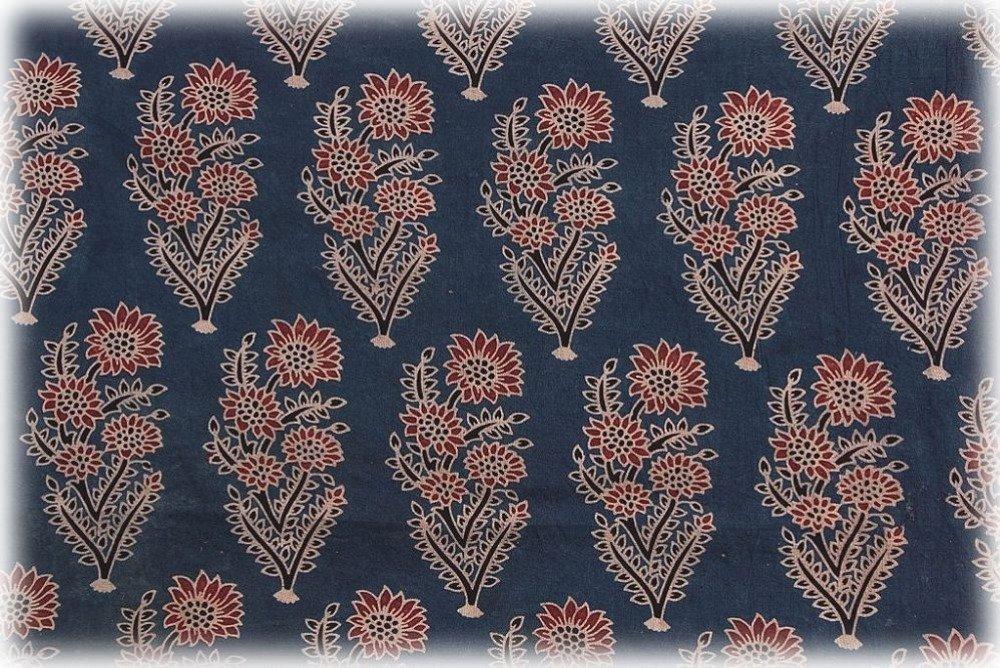Coupon/tissu/Inde/100x100cm/Pur coton/Motifs géométrique/Imprimé à la main/Block print/Bleu indigo/rouge/écru/noir