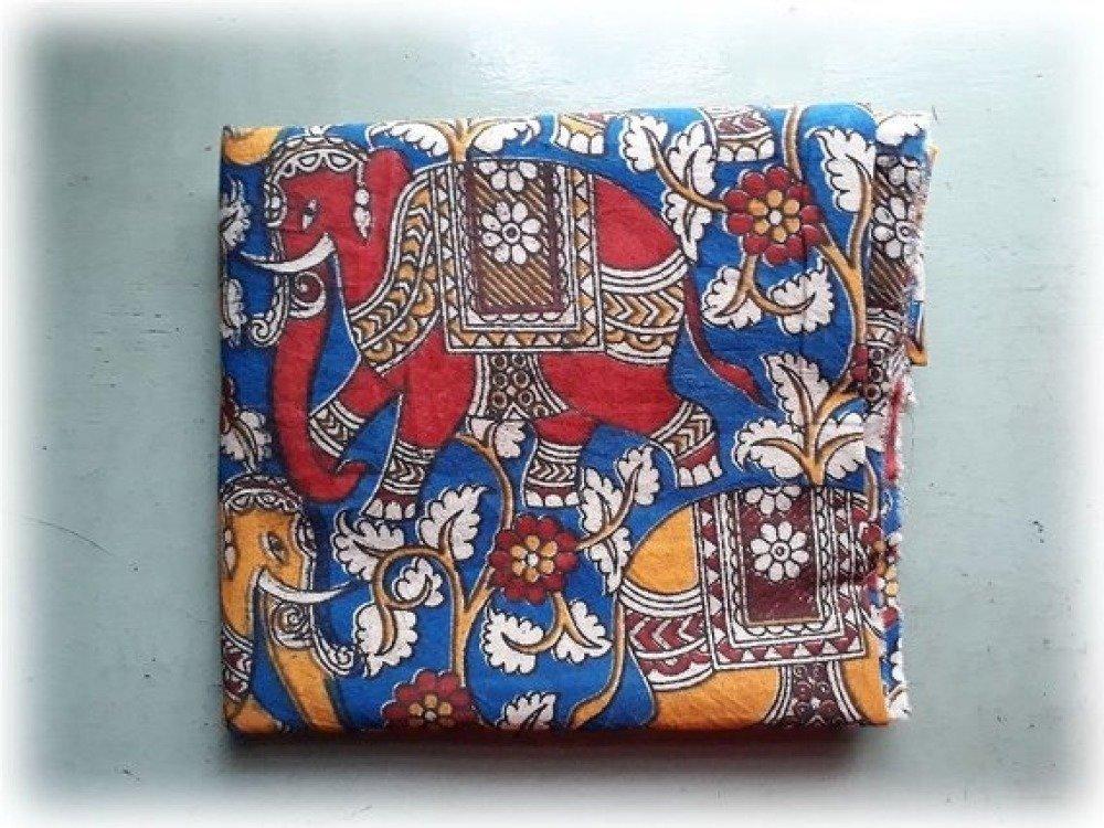 Coupon/Tissu/110x150cm/Coton/Inde/ELEPHANT/FLEURS/KALAMKARI/motifs imprimé à la main/Block Print/Bleu/Jaune/Ecru/Rouge