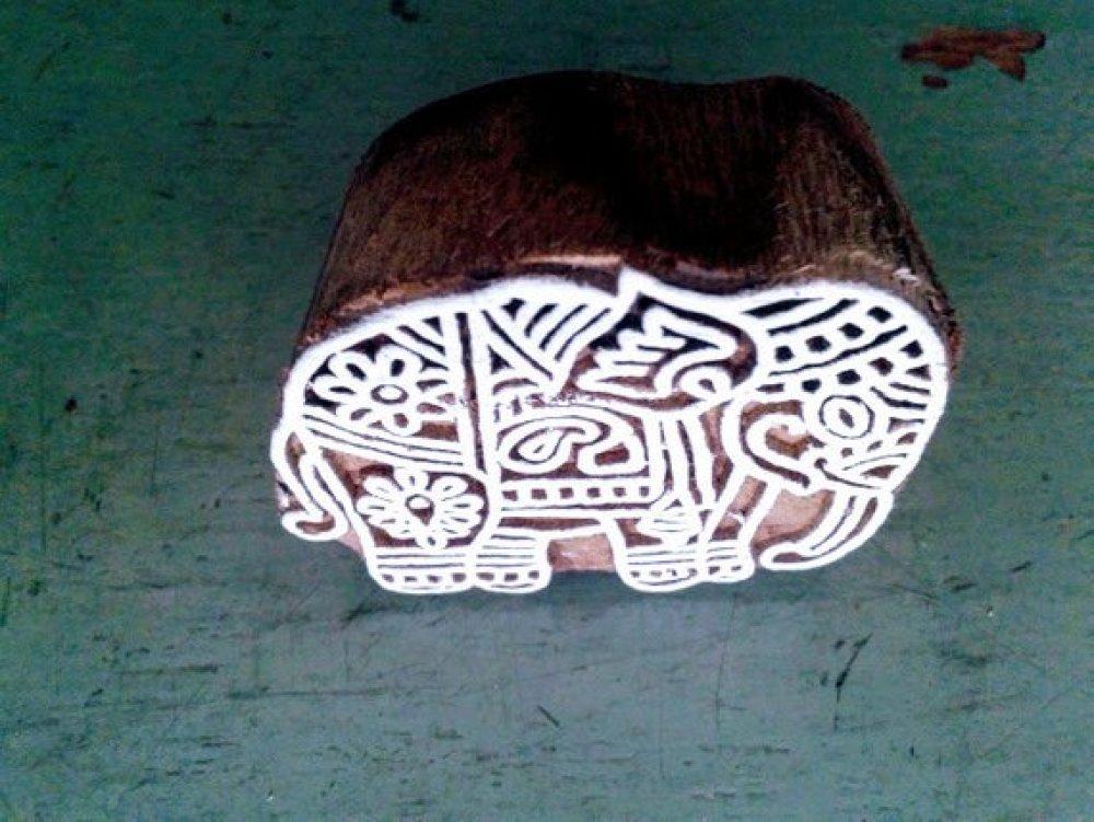 Tampon bois sculpté/gravé à la main/5.5X5cm/BLOCK PRINT/ÉLÉPHANT/Scrapbooking,carterie,tissu/Fabrication artisanale/Inde