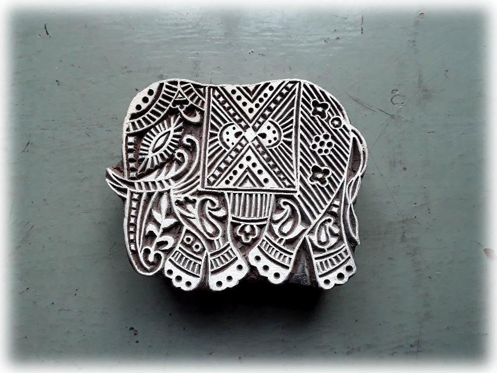 Tampon en bois sculpté/gravé à la main/11X9 cm/BLOCK PRINT/ÉLÉPHANT/Scrapbooking,carterie,tissu/Fabrication artisanale/Inde