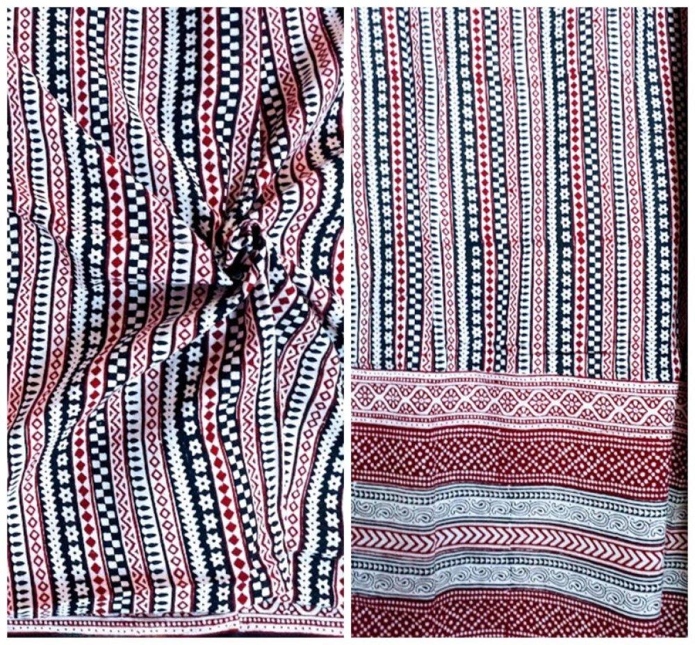 Coupon Tissu coton 240 X 115 cm Motifs imprimés à la main Block print Bagh Rouge Ecru Noir