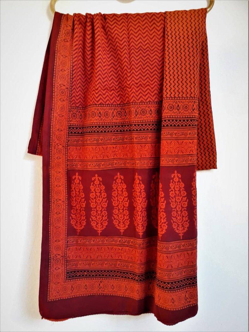 Coupon Tissu coton 240 X 115 cm Motifs imprimés à la main Block print Bagh Orange Noir